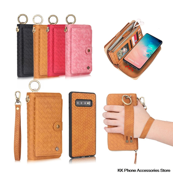 Multifunction Zipper Wallet Case Samsung Note 10 Plus S10 5G S10e Plus Detachable Flip Leather Case - Casebuddy