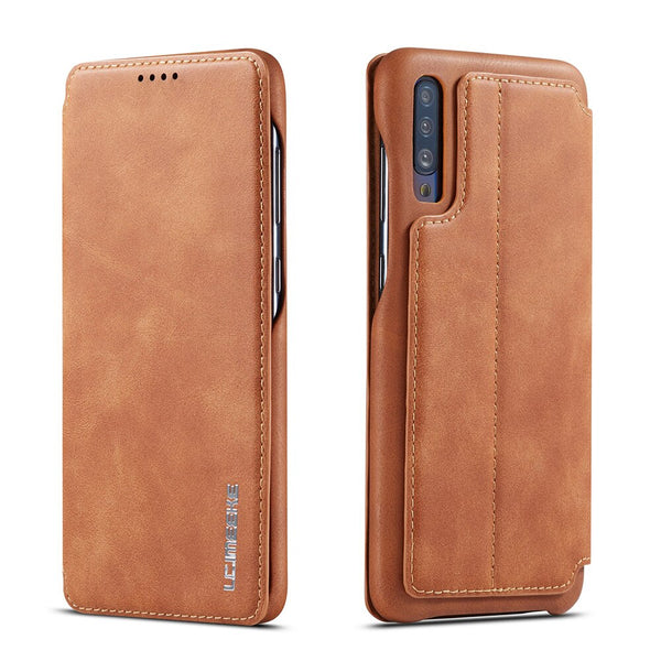 Vintage Magnetic Wallet Case Samsung Note 10 Plus 5G A20E A30 A40 A50 A70 Flip PU Leather Case - Casebuddy