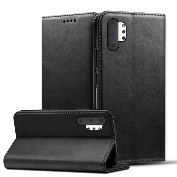 Samsung Galaxy Note 10 Plus  5G/A50/A30/M40/M20/S10 Plus Calf Grain PU Leather Flip Stand Wallet Case - Casebuddy