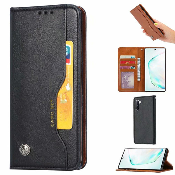 Retro PU Leather Card Slots Wallet Flip Case Samsung Galaxy Note 10 Plus 5G A80 A70 A60 A50 A40 A30 S10E S10 S9