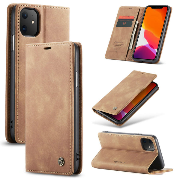 CaseMe Leather Case Wallet Cases Cover Wallet Card Design Vintage Book iPhone 6 6S 7 8 Plus X XR XS 11 Pro Max XR - Casebuddy