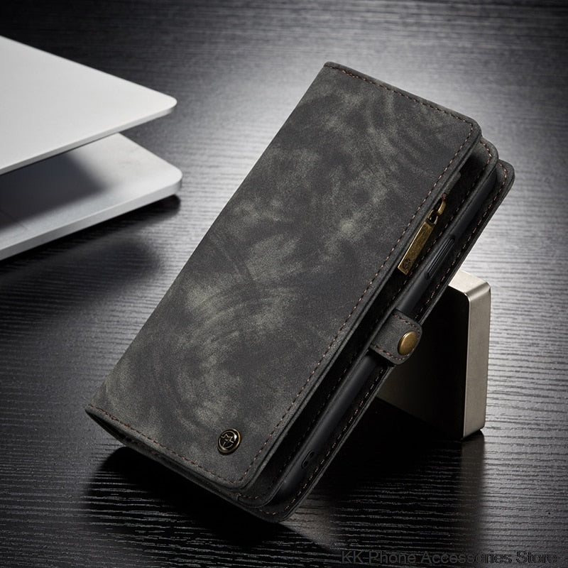 iPhone 6 6s 7 8 XS Max XR X XS 11 Pro Max Wallet Luxury Zipper Flip Leather Cover Magnet - Casebuddy
