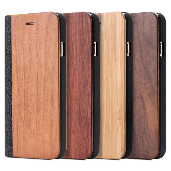FLOVEME iPhone 11 Pro Max 6 6S 7 X Plus XS Max XR XS Plus Bamboo Natural Wood Case Flip Leather Wallet - Casebuddy