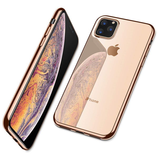 iPhone 11 Pro Max  Ultra Slim Thin Clear Soft Premium Flexible Chrome Bumper Transparent TPU Back Plate Cover