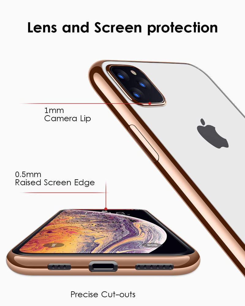iPhone 11 Pro Max  Ultra Slim Thin Clear Soft Premium Flexible Chrome Bumper Transparent TPU Back Plate Cover - Casebuddy