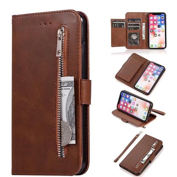 Leather Zipper Flip Wallet Case iPhone 11 Pro X XS MAX XR 6 6s 7 8 Plus Card Holder Stand - Casebuddy