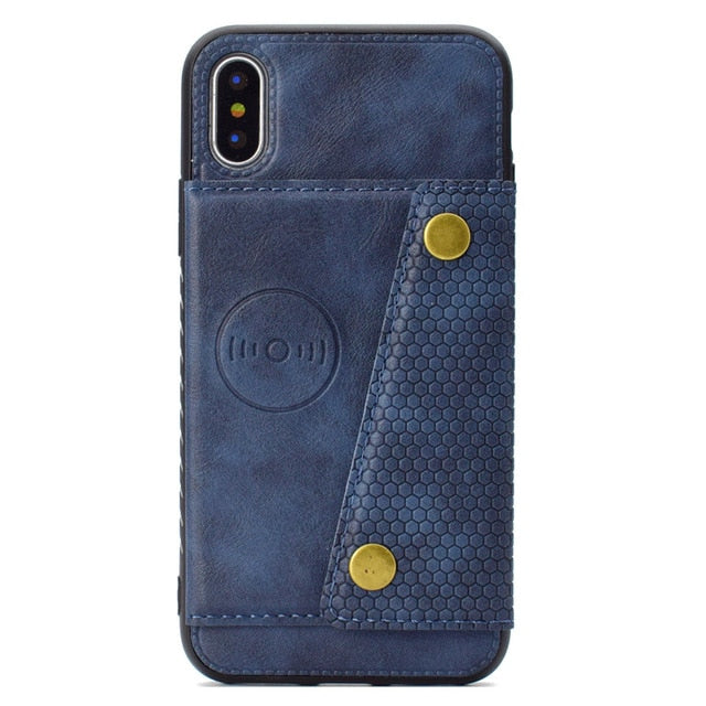 Multi Card Holders Wallet Case iPhone 11 Pro Max Xs Max XR X Magnet Buckle Cover 6 6S 7 8 Plus Case with Bracket - Casebuddy