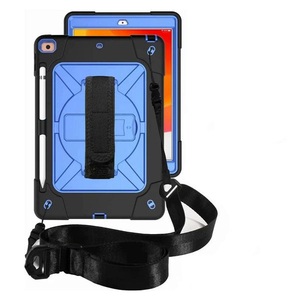 Hard Robot Case iPad Pro 10.2 2019 Case with Shoulder Hand Strap Pen Holder Shock Proof - Casebuddy