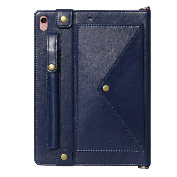 iPad 7th 10.2 inch 2019 Case Crossbody Strap Belt Bag LeatherCard Pen Holder Fashion Business - Casebuddy
