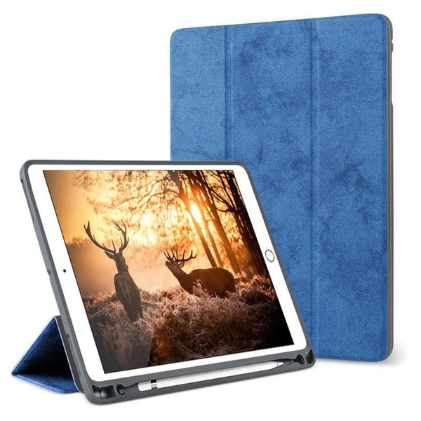 Smart PU Leather Case iPad 10.2 2019 with Pencil Holder Cover Apple iPad 7 7th Generation A2200 A2198 A2232 - Casebuddy