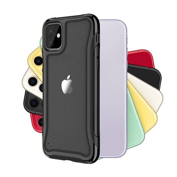 Shockproof Soft TPU+PC Phone Case For iPhone 11 Pro Max 6 6S 7 8 Plus X XR XS Max Transparent Frosted Cases Silicone Cover - Casebuddy
