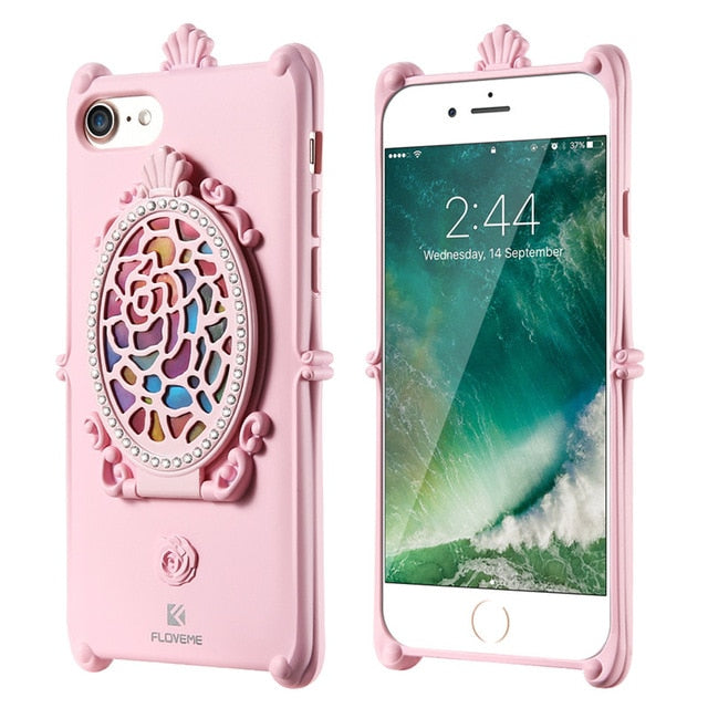 FLOVEME iPhone 8 7 6 6S Plus 5S SE Case Makeup Mirror Glitter Rhinestone Stand - Casebuddy
