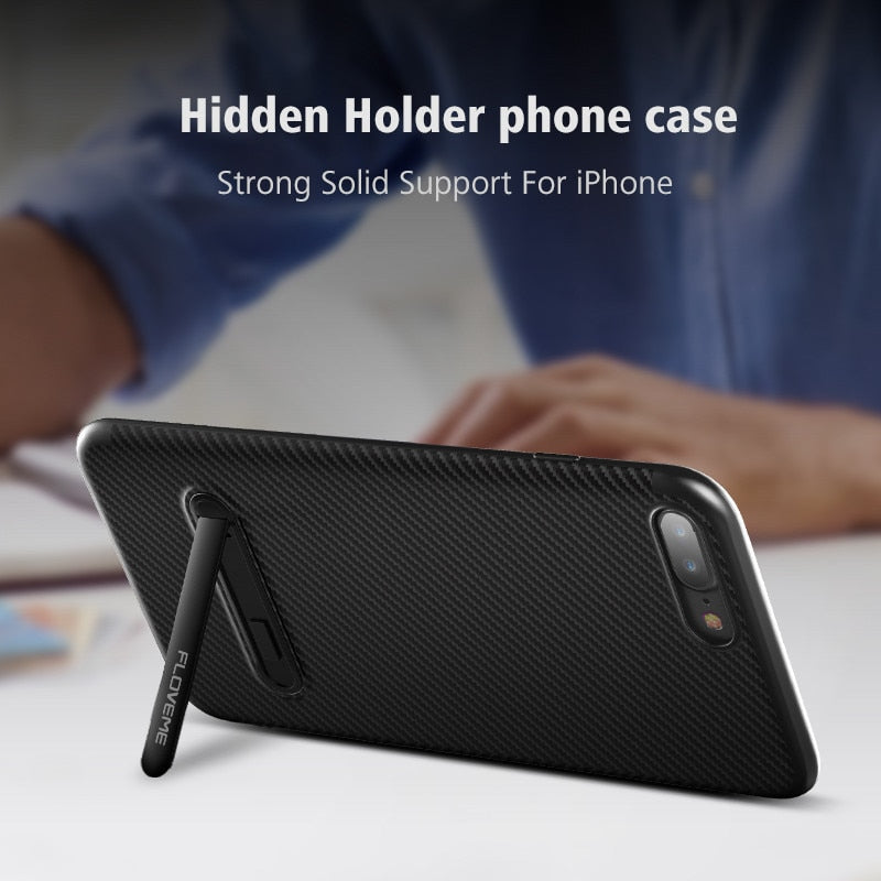 FLOVEME Luxury Stand iPhone 7 6 6s Plus X XS Holder Stand Carbon Fiber Ultra Thin Silicone Case - Casebuddy