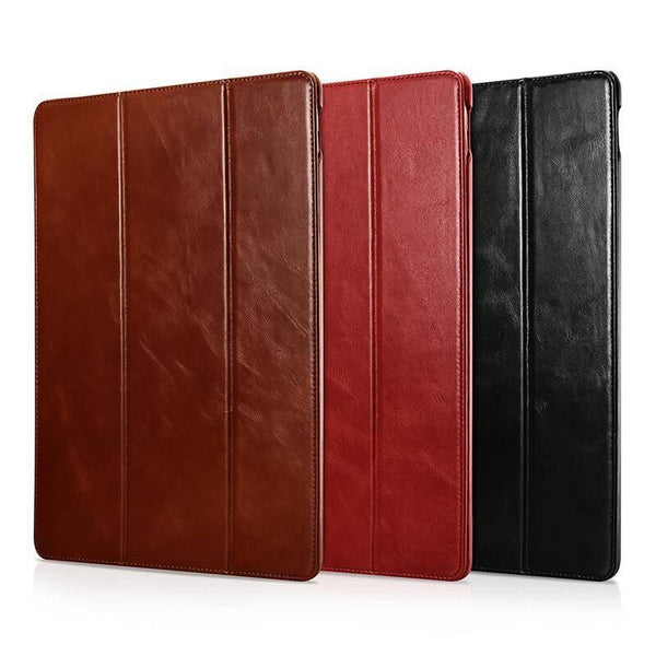 iCarer iPad Pro 12.9 2016 1st Generation Vintage Genuine Leather Ultra Slim Tri-fold Smart Cover Case - Casebuddy