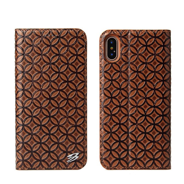 Fierre Shann Genuine Leather Filp wallet Case Coin Pattern Stand Case iPhone X XS 8 8S 7 6 6S Plus Cover - Casebuddy