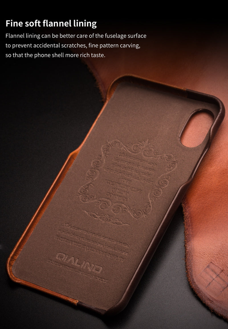QIALINO Genuine Leather Case for iPhone X XS Fashion Luxury Card Slot Back - Casebuddy