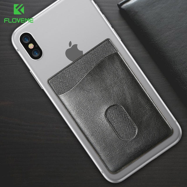 FLOVEME Leather 3M Adhesives Card Sticker Pocket Universal Wallet Case For iPhone X 8 7 6 Plus - Casebuddy