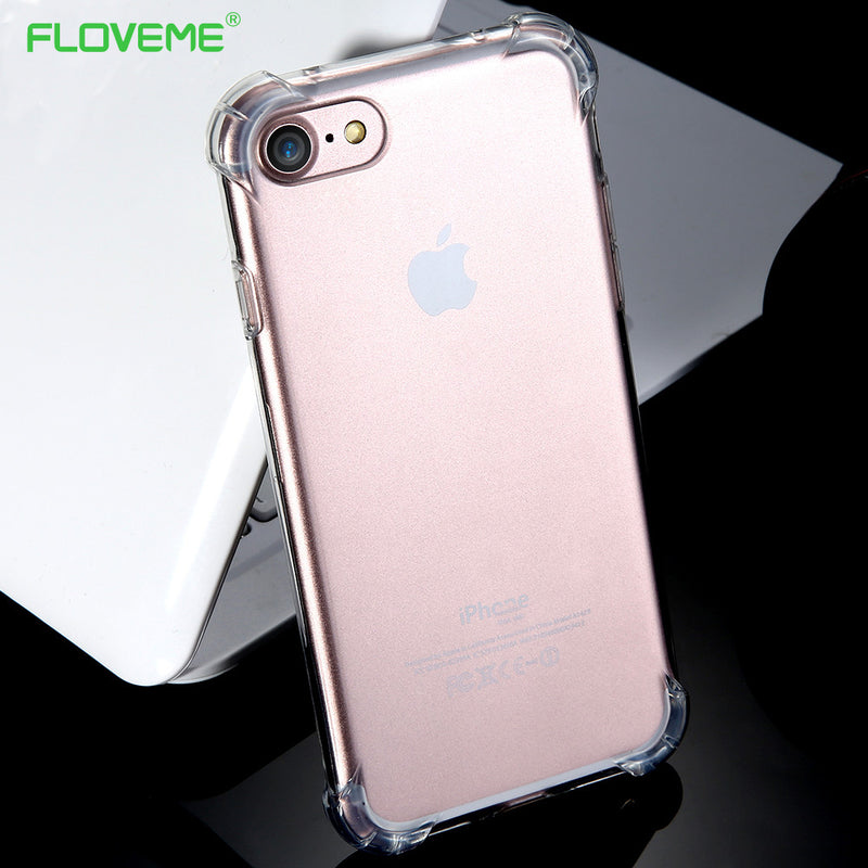 FLOVEME Transparent Shockproof Case iPhone X XS 8 7 6 6S 8S Plus Ultra Slim Thin Silicone Cover - Casebuddy