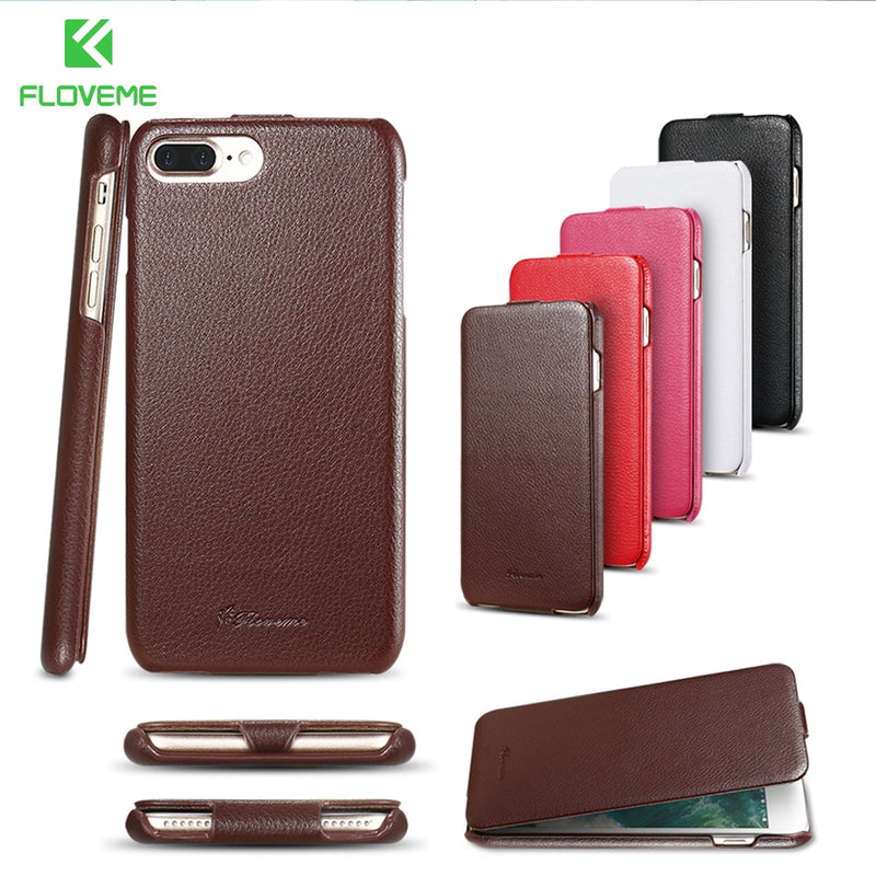 FLOVEME Genuine Leather iPhone 7 8 8s Plus Flip Folding Heat Setting Litchi Pattern Business Cover - Casebuddy