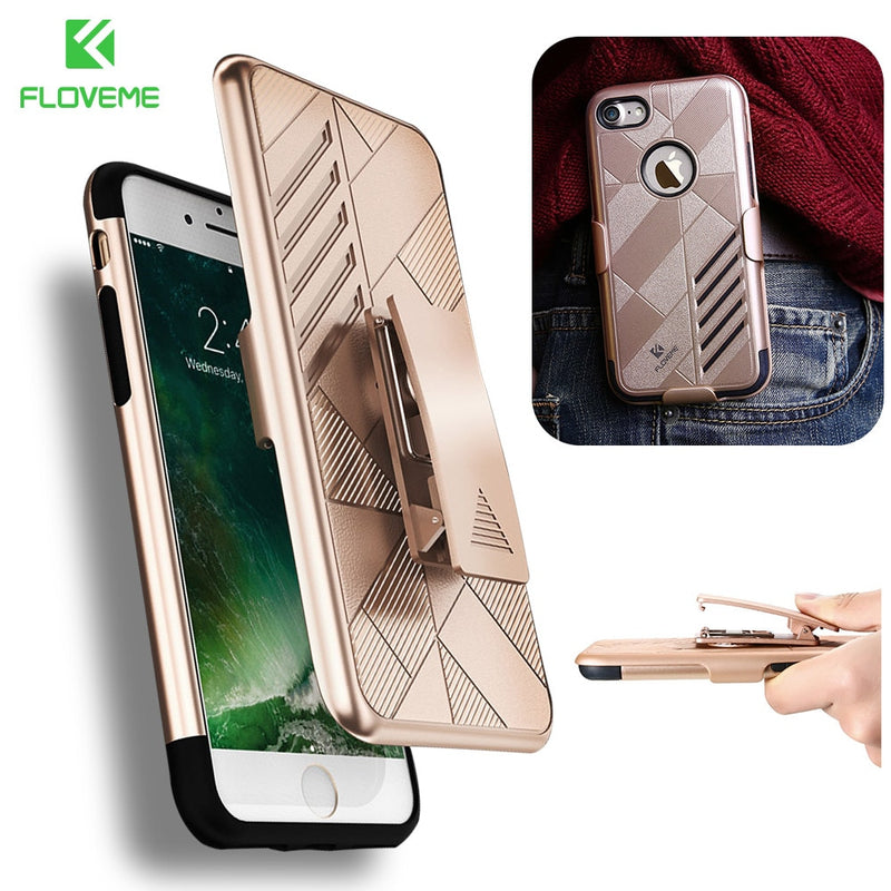 FLOVEME iPhone 6 6s 7 8 8S Plus Belt Clip Holster Stand Armor Hard Plastic Cover - Casebuddy