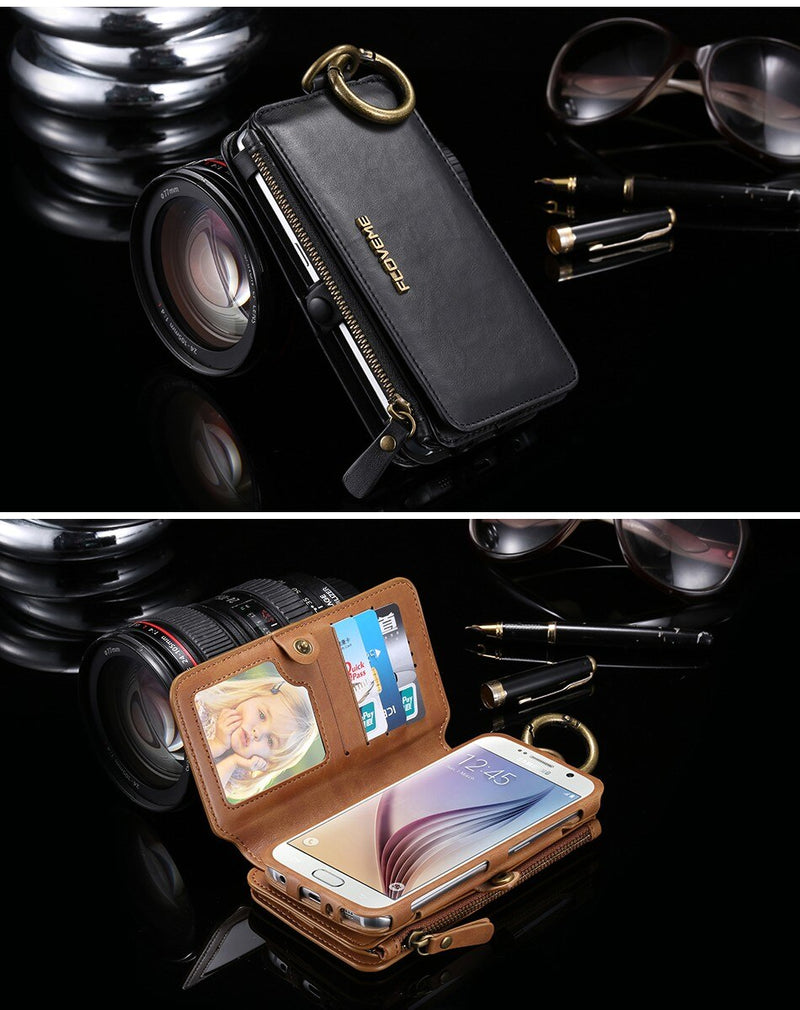 FLOVEME Leather Wallet Case Apple iPhone 6 6s 8 7 X XS XR MAX Pouch Women Men Phone Bag - Casebuddy