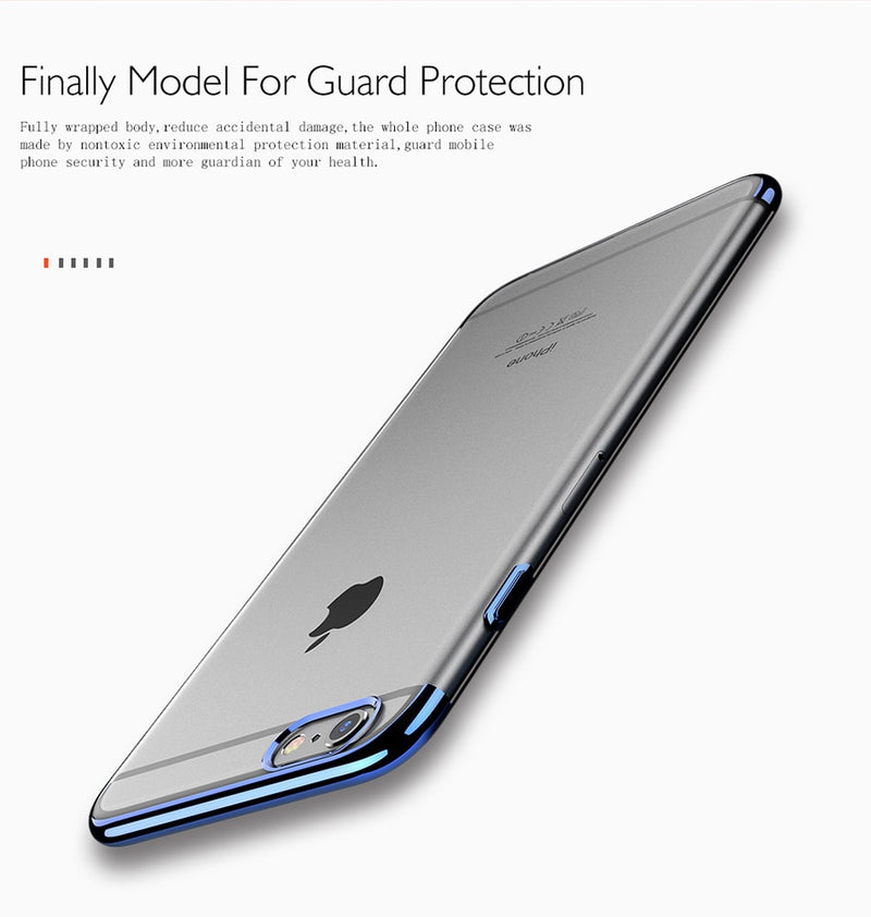 FLOVEME Soft TPU Transparent Luxury Plated Ultra Thin Silicone Cover iPhone 6 6s 7 8 Plus X XS - Casebuddy