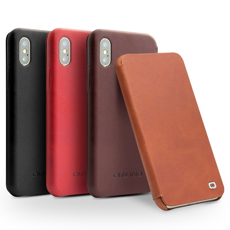 QIALINO Luxury Ultra Thin Genuine Leather Case Apple for iPhone X XS Flip Pure Handmade - Casebuddy