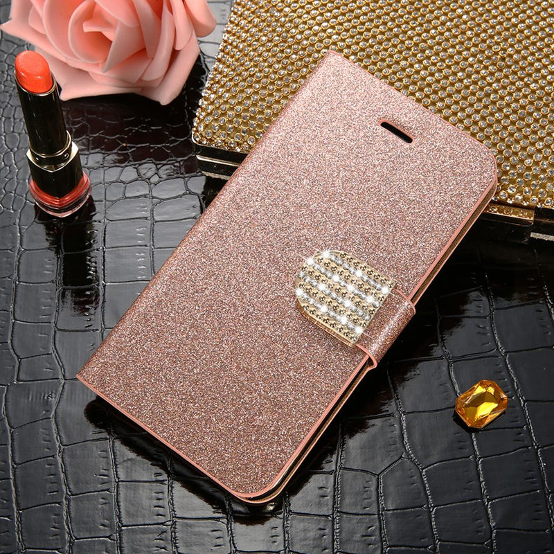 Flip Bling Bling iPhone XS X 8 7 6 6S Plus 5 5S Full Protective Luxury Card Wallet Cover Case - Casebuddy