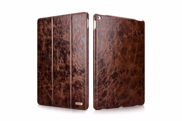 iCarer Luxury Genuine Leather Cover Filp Stand Foldable Stand Folio Case Apple iPad Pro 12.9 2017 A1670 A1671 - Casebuddy