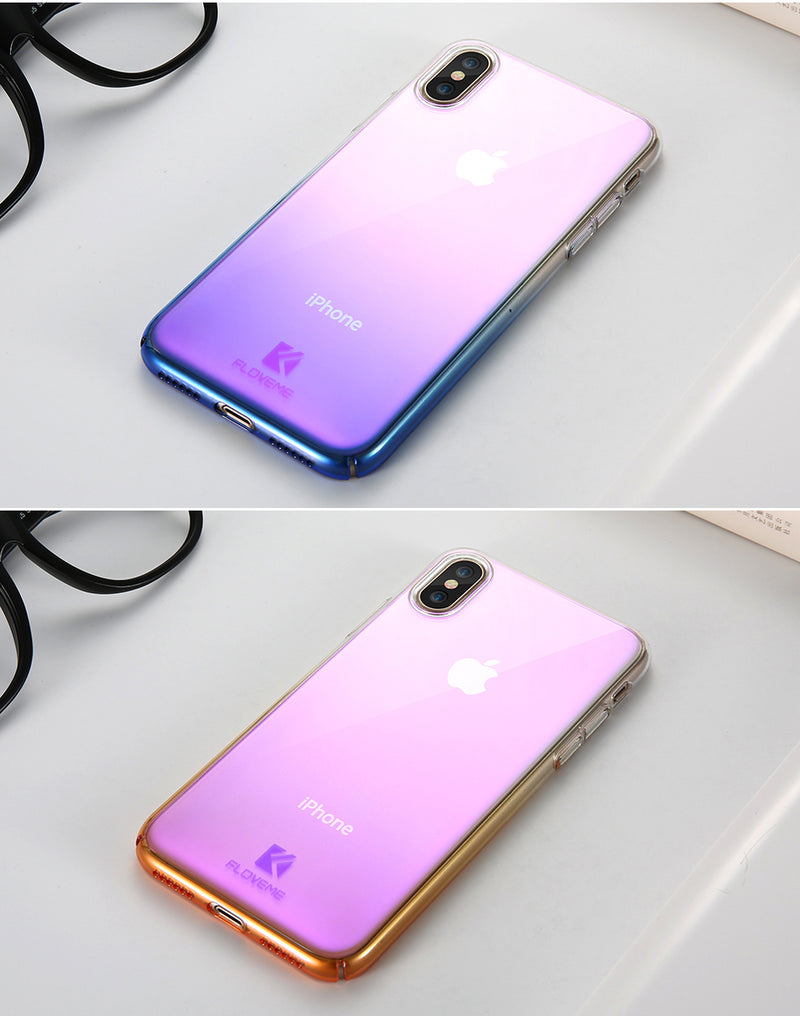 FLOVEME Luxury Gradient Plated iPhone XR X XS Max B 7 8 6 6s Plus 5S Blue Ray Light Clear Cover - Casebuddy