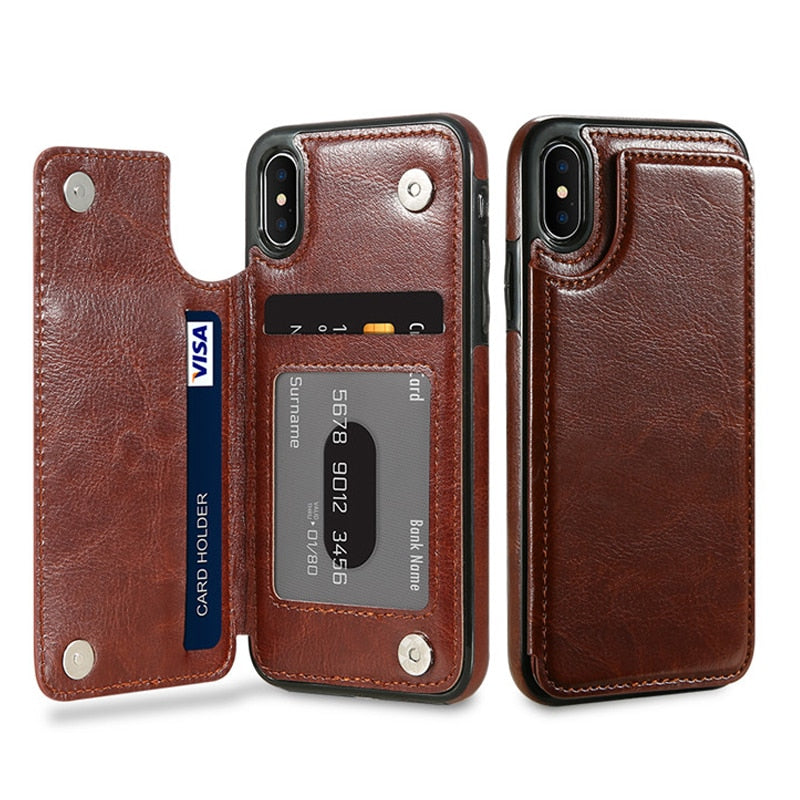 FLOVEME Vintage Leather TPU Soft Magnetic iPhone XS Max XR X 8 7 6 6S 5 Plus Holder Kickstand Case - Casebuddy