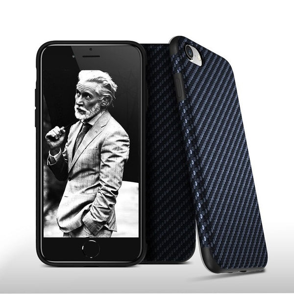 FLOVEME Carbon Fiber Case iPhone X 7 6 6S Plus XS Max XR 5S Twill Silicon Back Slim - Casebuddy