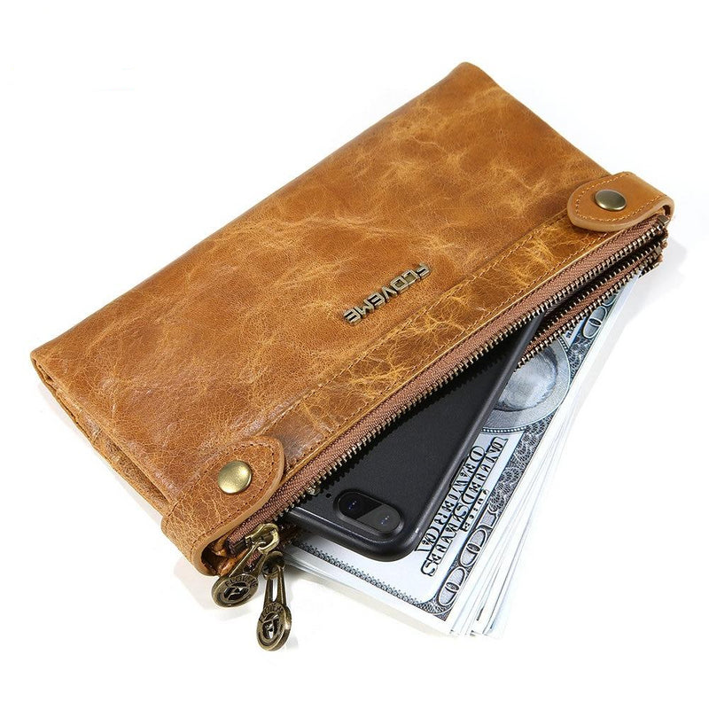 FLOVEME Genuine Leather Wallet iPhone 6 6s 7 8 8s Plus X XS Bag 5.5 Inch Universal - Casebuddy