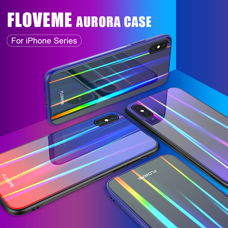 FLOVEME Aurora Tempered Glass Luxury Glossy Silicone Edge Cover iPhone 7 8 Plus XS MAX XR X XR - Casebuddy