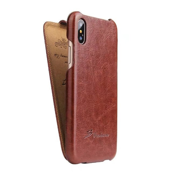 Fierre Shann Vintage Luxury Leather Up Down Flip Case iPhone Xs Max XR X 8 7 6 6S Plus SE 5S 5 Classic Cover - Casebuddy