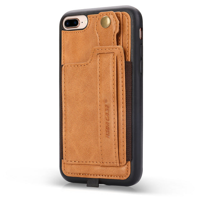 Jisoncase Leather Case iPhone 8 7 Plus With Card Slot Black Lanyard Design Vintage Hand Holder - Casebuddy