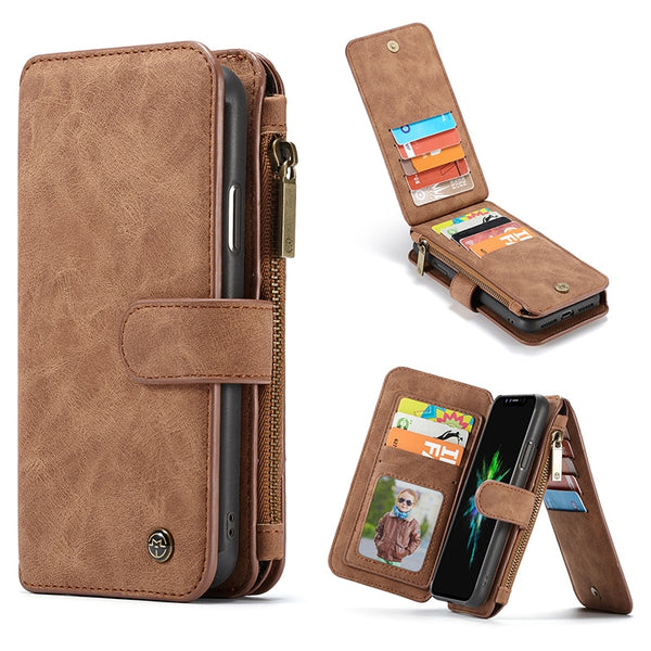 CaseMe Card Holder Case iPhone X XR XS MAX Zipper Magnetic Wallet Cover iPhone 8 7 6 6S Plus 5 5S SE - Casebuddy