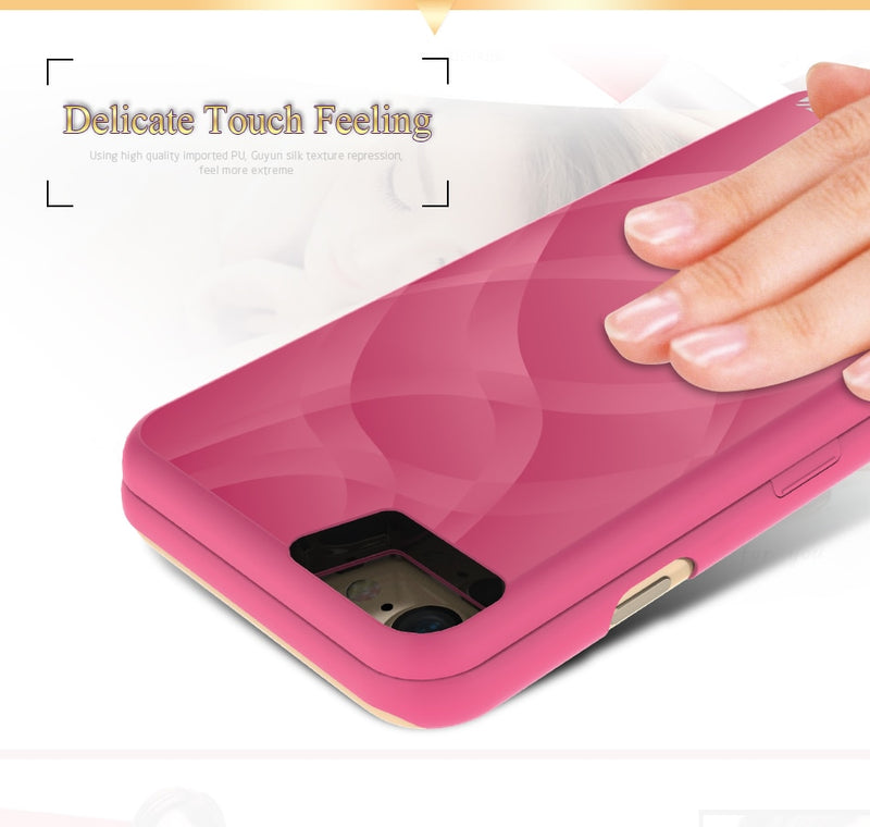 FLOVEME Mirror Flip Case For Iphone XS XR X MAX 8 6 Plus Cute Girl Card Slot Dual Layer Wallet Cover - Casebuddy