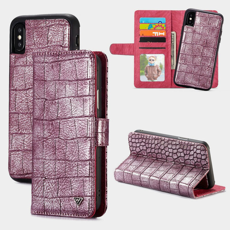 WHATIF 2 in 1 Detachable Wallet Case for iPhone X Xr Xs Max 7 8 plus Luxury Crocodile Leather - Casebuddy