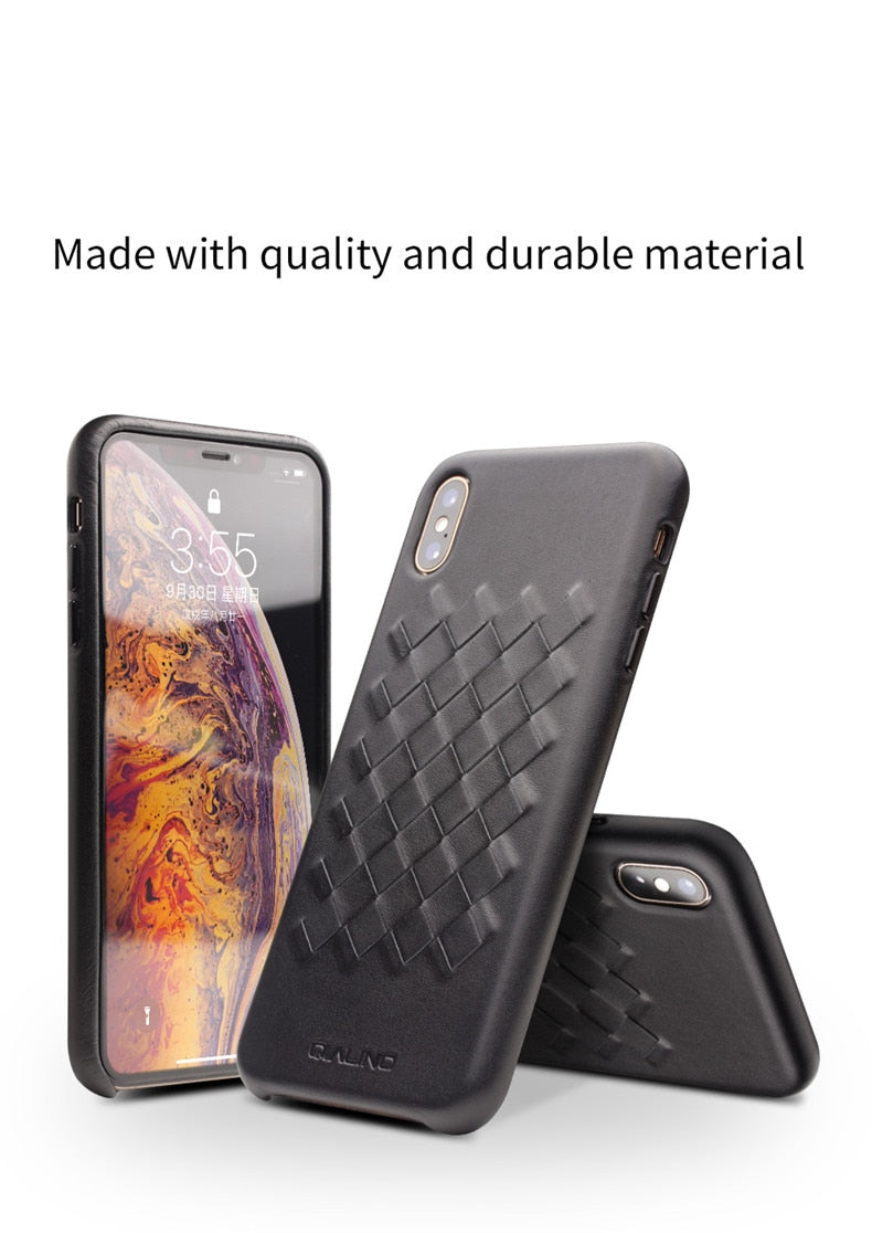 QIALINO Luxury Genuine Leather Hand-knitted Ultra Slim Back Cover for iPhone X XR XS Max 5.8/6.1/6.5 inches - Casebuddy