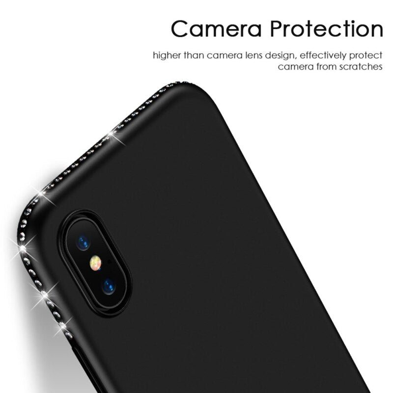 FLOVEME iPhone XS X Luxury Dirt-Resistant Crystal Inlaid TPU Shockproof Protective Back Case - Casebuddy