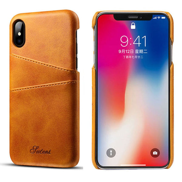 Suteni Luxury PU Leather Case iPhone XS Max XR X 8 7 6S 6 Plus Fashion Card Holder Wallet Back Cover