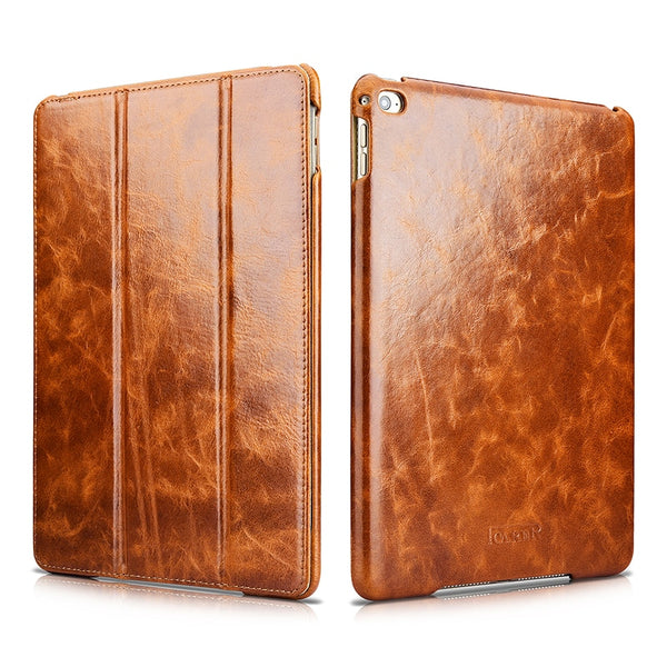 iCarer Luxury Waxy Genuine Leather Smart Case iPad Air 2 Auto Wake/ Sleep Flip Standing Cover Protection Bag - Casebuddy