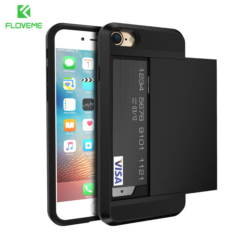 FLOVEME iPhone 5S 5 SE X XR XS Max 6 6S 7 6 8 8S Plus Armor Card Holder - Casebuddy