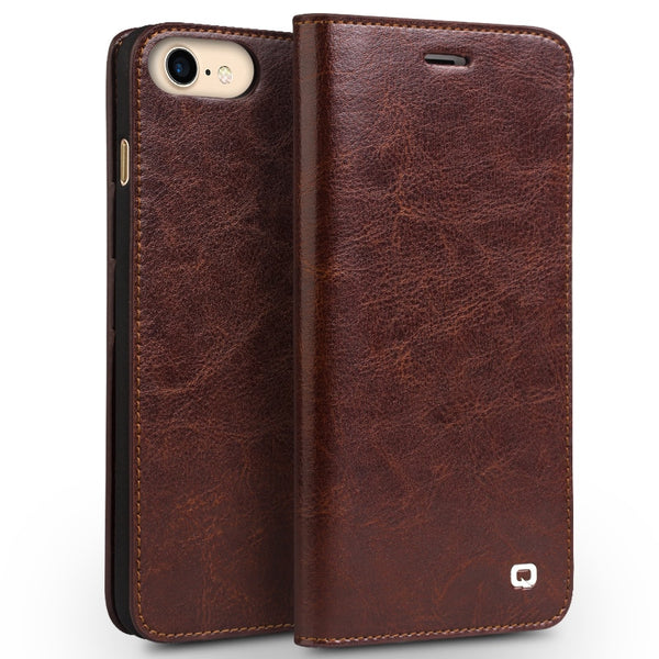 QIALINO iPhone 6 6s Plus 7 8S Plus 8 Plus Classic Luxury Genuine Wallet Leather Flip Case - Casebuddy