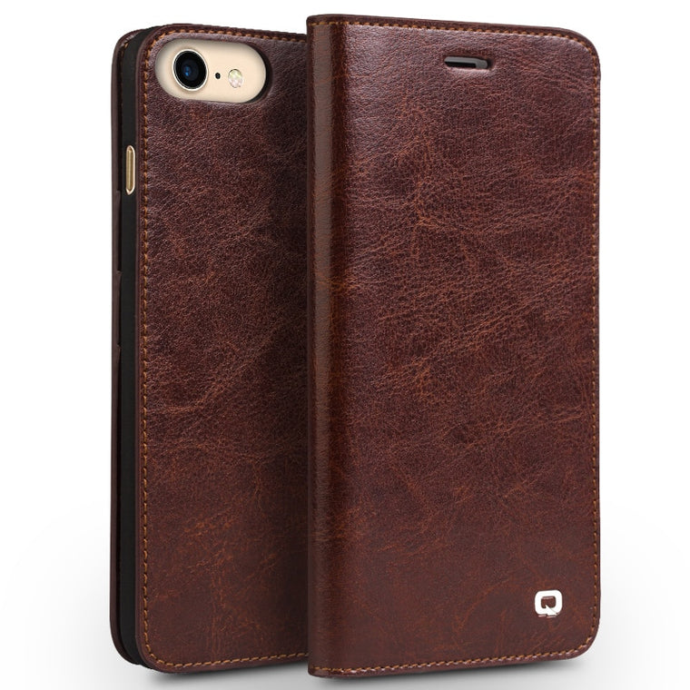 QIALINO iPhone 6 6s Plus 7 8S Plus 8 Plus Classic Luxury Genuine Wallet Leather Flip Case