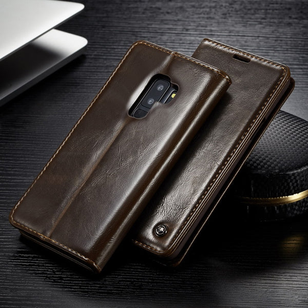 Luxury Flip Cover For Samsung Galaxy S7 Edge S8 S9 S10 Plus Note 9 A3 A5 Vintage Leather Wallet Card Holder Case - Casebuddy