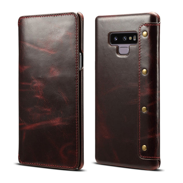 Luxury Business Style Genuine Real Leather Case Samsung Galaxy S8 S9 S10 Plus Note 9 8 Case Flip Wallet Card - Casebuddy