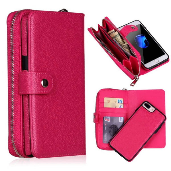 Detachable Zipper Flip Leather Wallet Case For iPhone XS MAX XR 6 6S 7 Plus 8 X 5 5S SE Multifunction Handbag Case Cover - Casebuddy