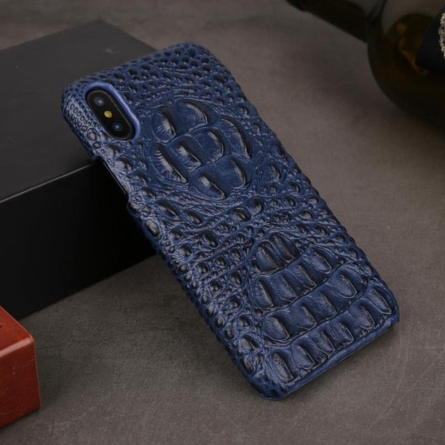 Genuine Leather Case For iPhone X XR XS MAX 6 6S 7 8 Plus Back Case Luxury Crocodile Leather Back Cover - Casebuddy